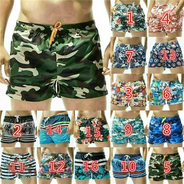 Sommar Mens dragsko Beach Shorts Plant Printed Blue S