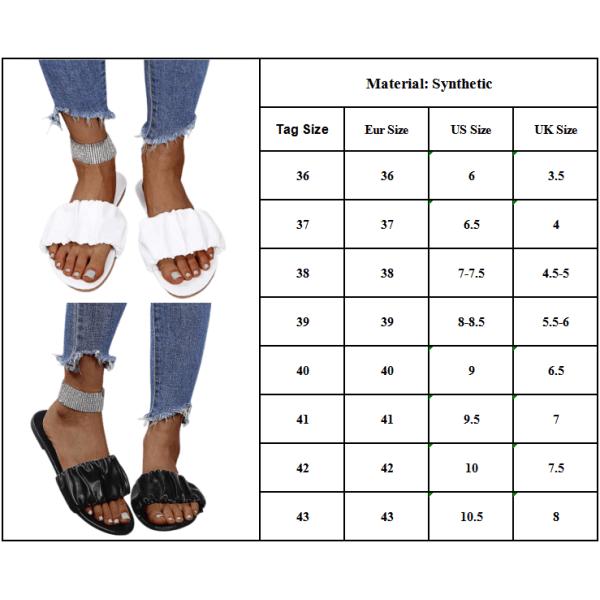 Sommar Enfärgade öppna sandaler och tofflor för kvinnor Black 39