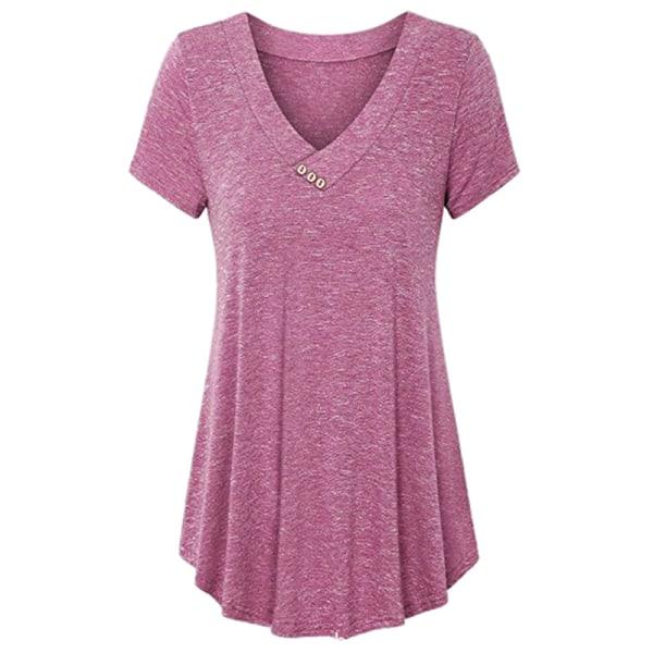 Sommar stilfulla damer V-ringad knapp T-shirt Lös kort ärm Rose red S