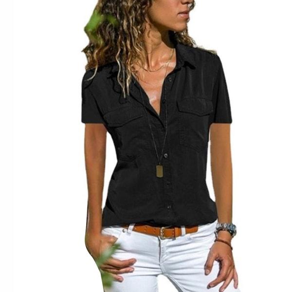 Sommar damskjorta Revers Kortärmad enfärgad verktygsskjorta Black 2XL