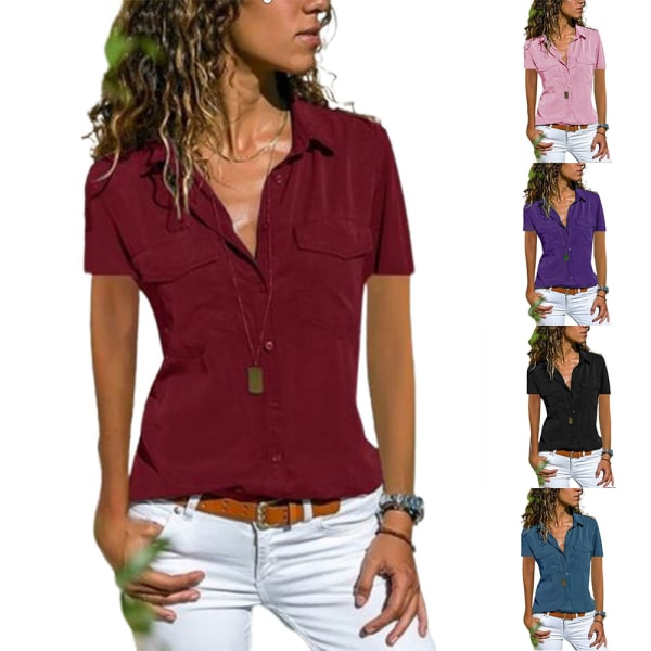 Sommar damskjorta Revers Kortärmad enfärgad verktygsskjorta Pink S
