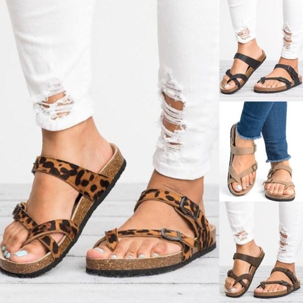 Sommar Womens Thong Flat Casual Sandaler black 39