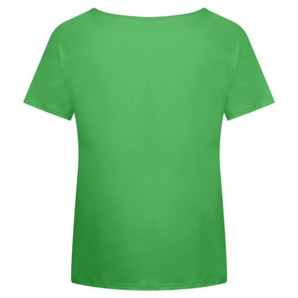 Temperament T-shirt för Kvinnor V-ringning Soltryck Täcka Grön XL