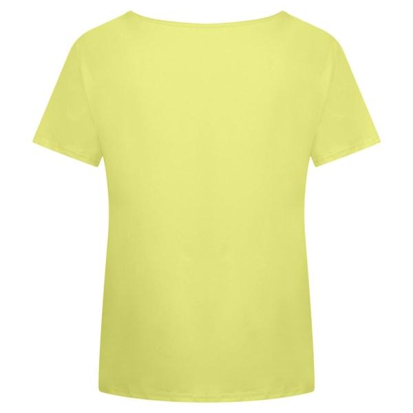 Temperament T-shirt för Kvinnor V-ringning Soltryck Täcka Gul 3XL