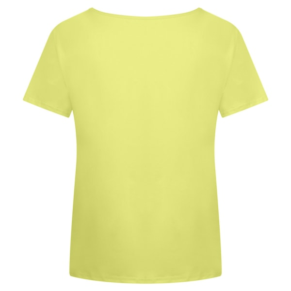 Temperament T-shirt för Kvinnor V-ringning Soltryck Täcka Gul 4XL
