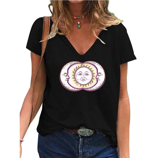 Temperament T-shirt för Kvinnor V-ringning Soltryck Täcka Svart 3XL