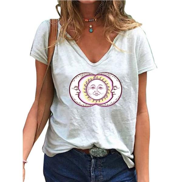 Temperament T-shirt för Kvinnor V-ringning Soltryck Täcka Vit XL
