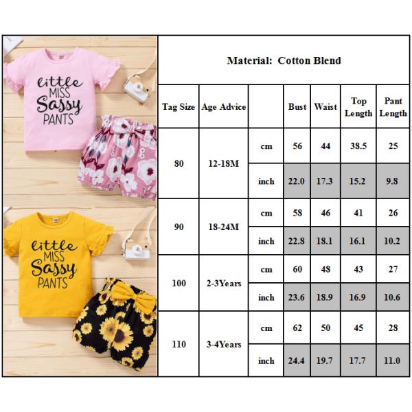 Småbarn Baby Girl kläder sommar kostym tryckta bokstäver Top Shorts Golden 80CM