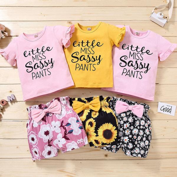 Småbarn Baby Girl kläder sommar kostym tryckta bokstäver Top Shorts Pink-red 80CM