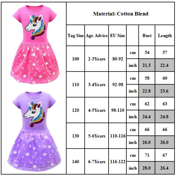 Unicorn rundhalsad kortärmad klänning för söta tjejer Purple 120CM