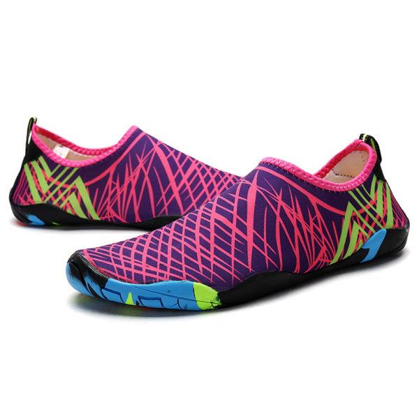 Unisex andas snabbtorkande Aqua Socks Beach Water Shoes Rose red 39