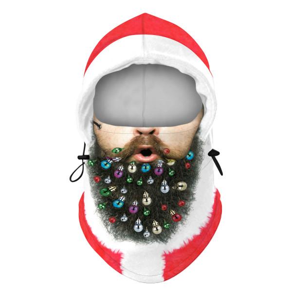 Unisex Christmas Santa Claus Balaclava Face Cover Xmas Scarf Hat Light Bulb