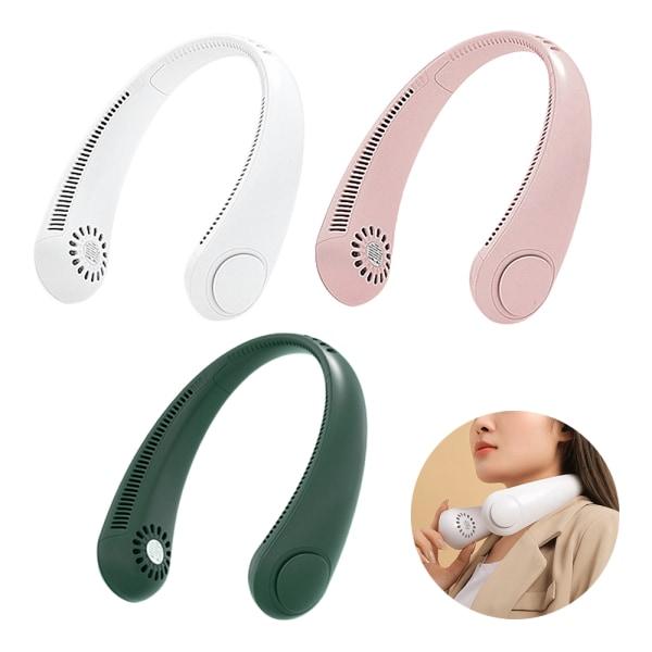 USB Free Hands Mini hängande halsfläkt lämplig för utomhusbruk Pink