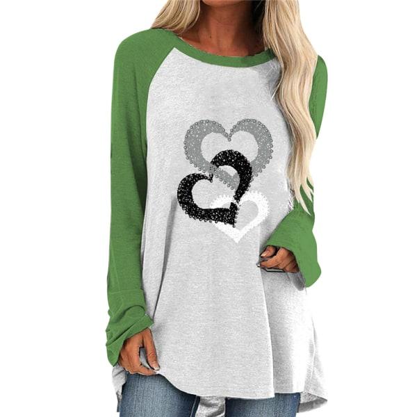 Alla hjärtans dag T-shirt med kärlekstryck Casual Mode utomhuskläder Green 3XL