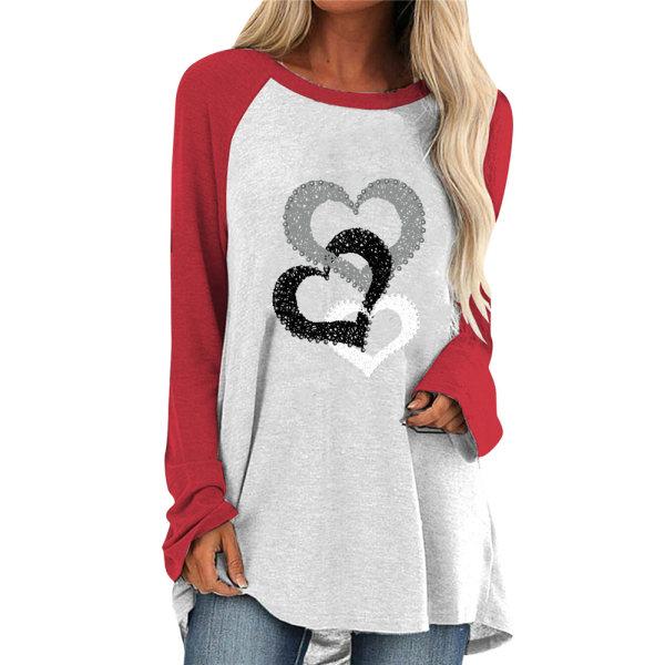 Alla hjärtans dag T-shirt med kärlekstryck Casual Mode utomhuskläder Red M
