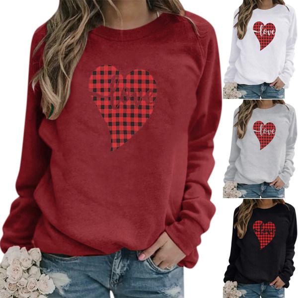 Alla hjärtans dag toppar heta försäljning tryckt tröja dam t-shirt White 3XL
