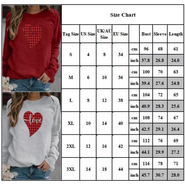 Alla hjärtans dag toppar heta försäljning tryckt tröja dam t-shirt White S