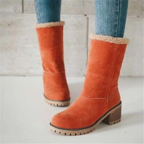 Vinterkvinnor Block Heel vikbara snöstövlar orange 39
