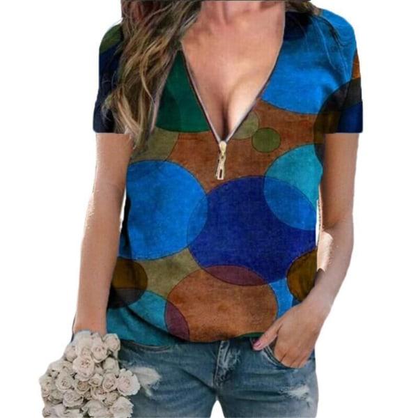 Kvinnans temperament V-ringad dragkedja pendlare kort ärm T-shirt Blue 3XL