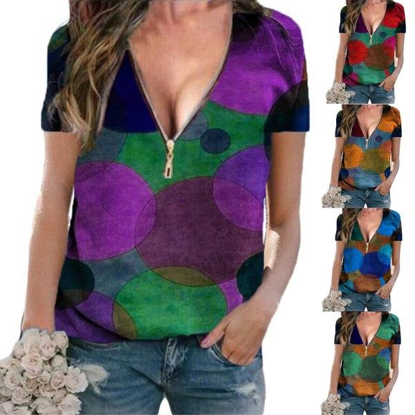 Kvinnans temperament V-ringad dragkedja pendlare kort ärm T-shirt Purple XL