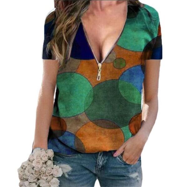 Kvinnans temperament V-ringad dragkedja pendlare kort ärm T-shirt Green XL