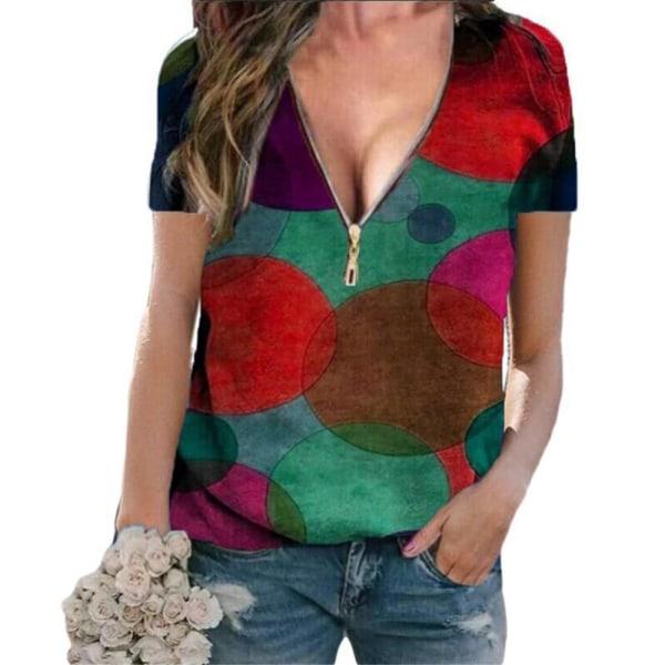 Kvinnans temperament V-ringad dragkedja pendlare kort ärm T-shirt Red 4XL