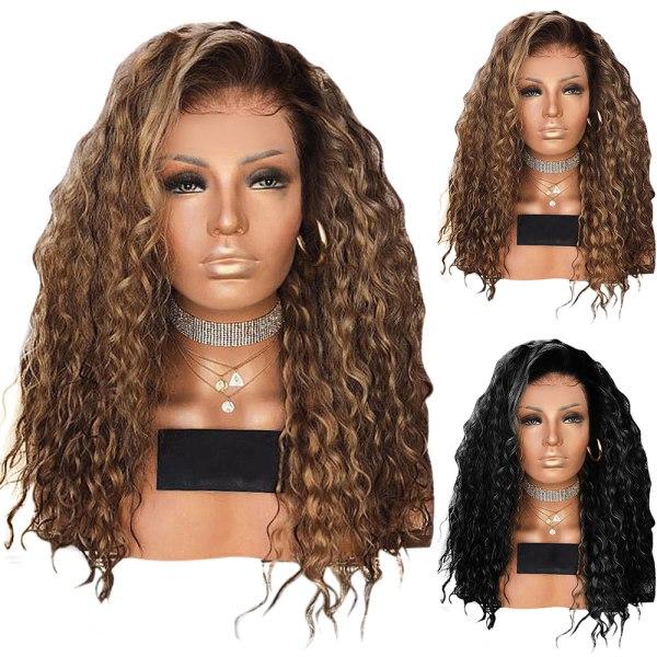 Kvinna Liten lockigt fluffig peruk Långt lockigt hår Rock Style Brown