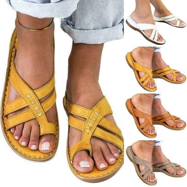 Kvinnor Casual Toe Ring Flat Slider Sandal Sommarsemesterstrand Yellow 39