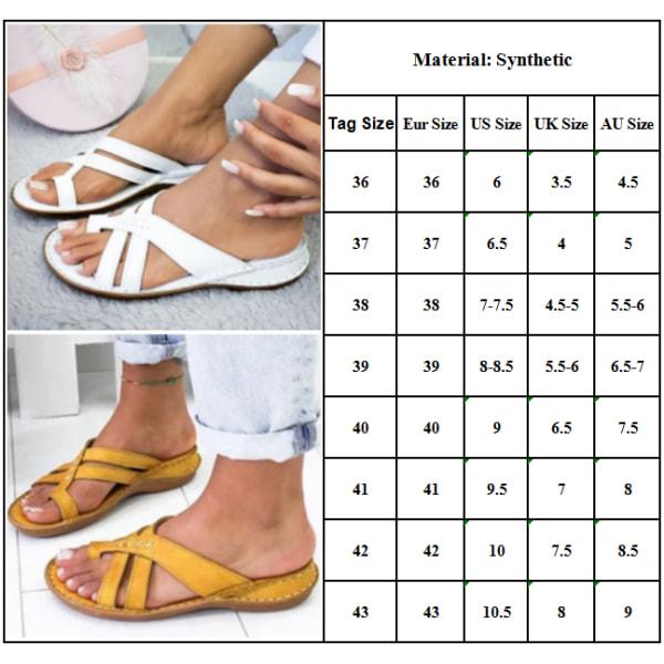 Kvinnor Casual Toe Ring Flat Slider Sandal Sommarsemesterstrand Yellow 38