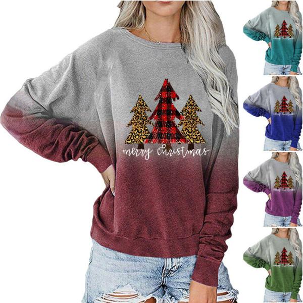 Kvinnors julgradient T-shirt Sweatshirt Xmas Pullover Top Red L