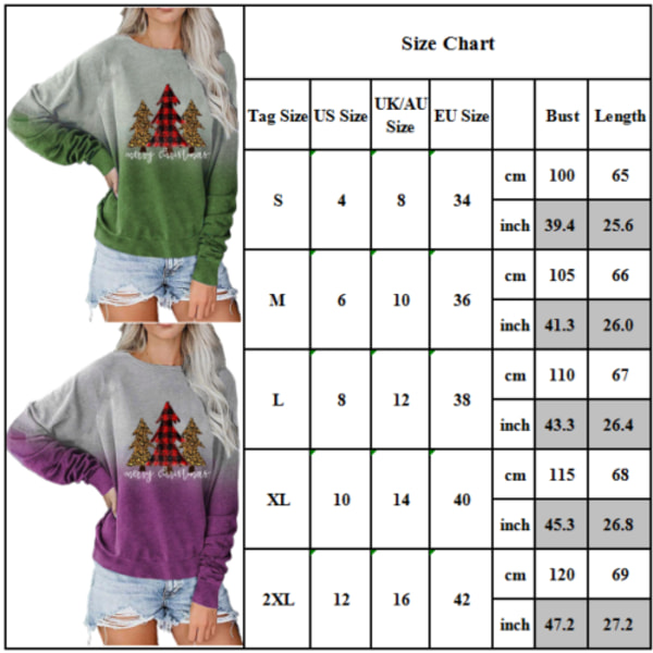 Kvinnors julgradient T-shirt Sweatshirt Xmas Pullover Top Cyan XL
