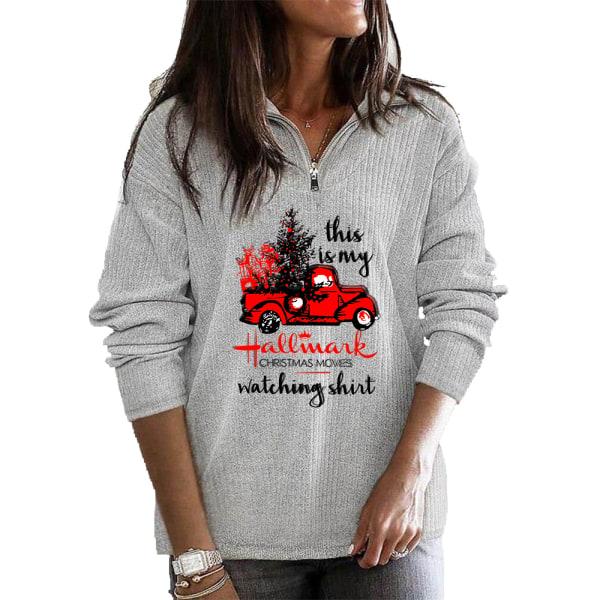 Kvinnor jul långärmad tröja blus Baggy tröja topp Grey M