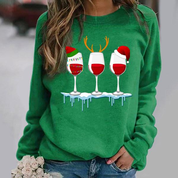 Kvinnors jul Santa långärmade T-shirts Blus Xmas Top Green L