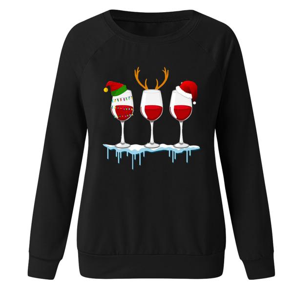 Kvinnors jul Santa långärmade T-shirts Blus Xmas Top Black 3XL
