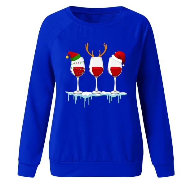 Kvinnors jul Santa långärmade T-shirts Blus Xmas Top Blue 2XL
