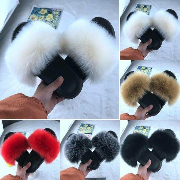 Kvinnor bekväma fluffiga fuskpäls platt sliders tofflor sandaler Creamy-white 40-41
