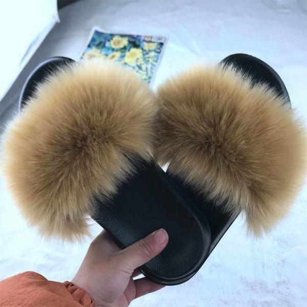 Kvinnor bekväma fluffiga fuskpäls platt sliders tofflor sandaler Khaki 38-39