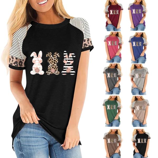 Kvinnor Påsk Leopard Print T-shirt Kortärmad Kanin Print Wine red XL