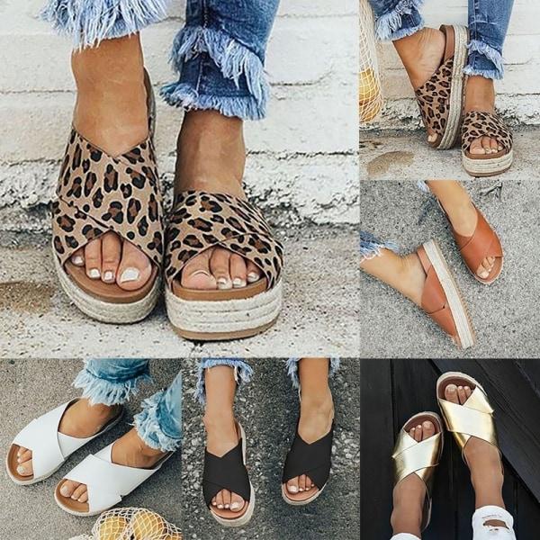 Sandaler för konstläder i konstläder för kvinnor leopard 39