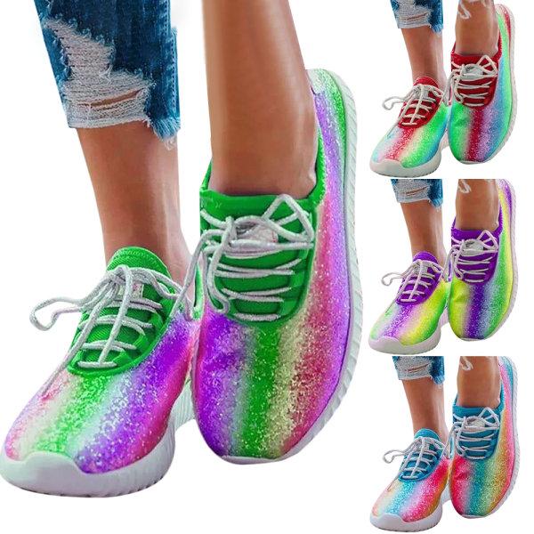 Kvinnor Flat Snörning Sneakers Jogging Trainer Sports Löparskor Blue 42