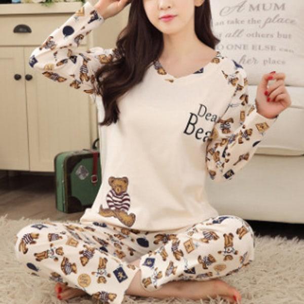 Kvinnor Flickor Fritidshem Set Söt Pyjamas Tvådelad fashionabelt Beige bear 2XL