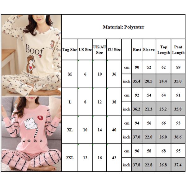 Kvinnor Flickor Fritidshem Set Söt Pyjamas Tvådelad fashionabelt Pink love 2XL
