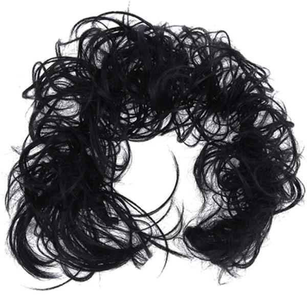 Kvinnors hårstycken Scrunchie Cover Bride Curly Hair Extensions 1B