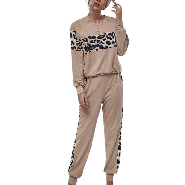 Kvinnors leopardstickning Långärmad tröja med rund hals Khaki XL