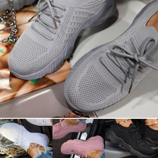 Kvinnors lättviktsskor med andningsfärg i ren färg Gray 41