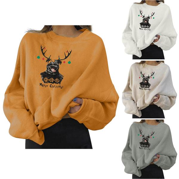 Kvinnor långärmad jultröja Casual tryckta tröjor Apricot 3XL