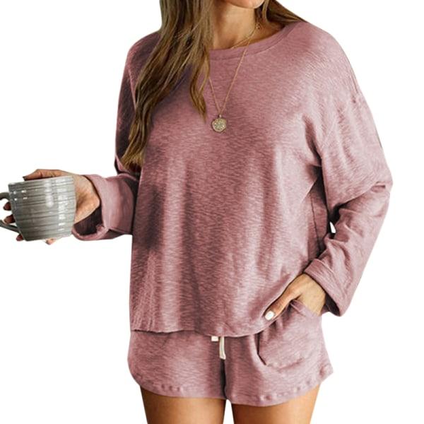 Kvinnors långärmade T-shirt Toppar Pyjamas Nightwear Lounge Sets Pink XL