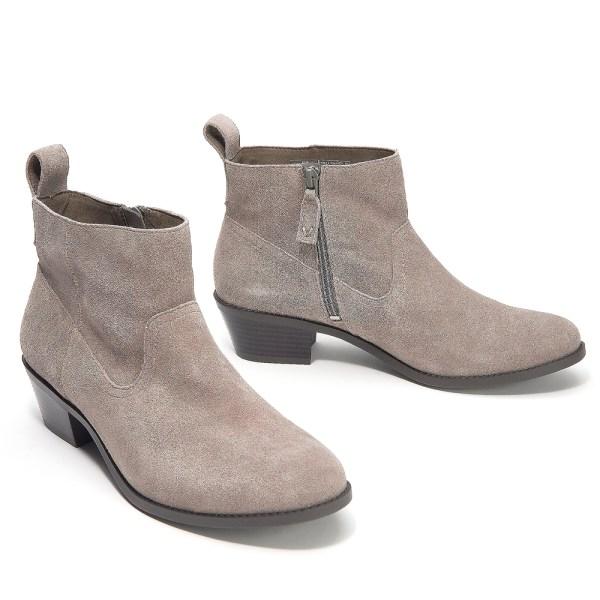 Kvinnor Låga klackar Ankelstövlar Chunky Booties Zip Shoes Grey 40