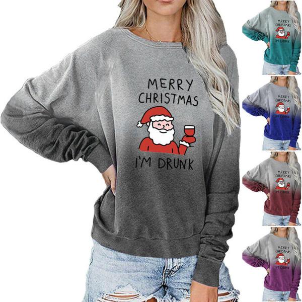 Dam Merry Christmas Gradient Pullover Sweatshirt Pullover Top Blue 2XL