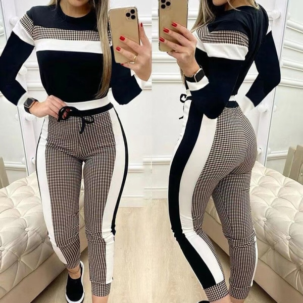 Kvinnor rutigt färgblocksutskrift Tätt passande casual kostym Check color matching M